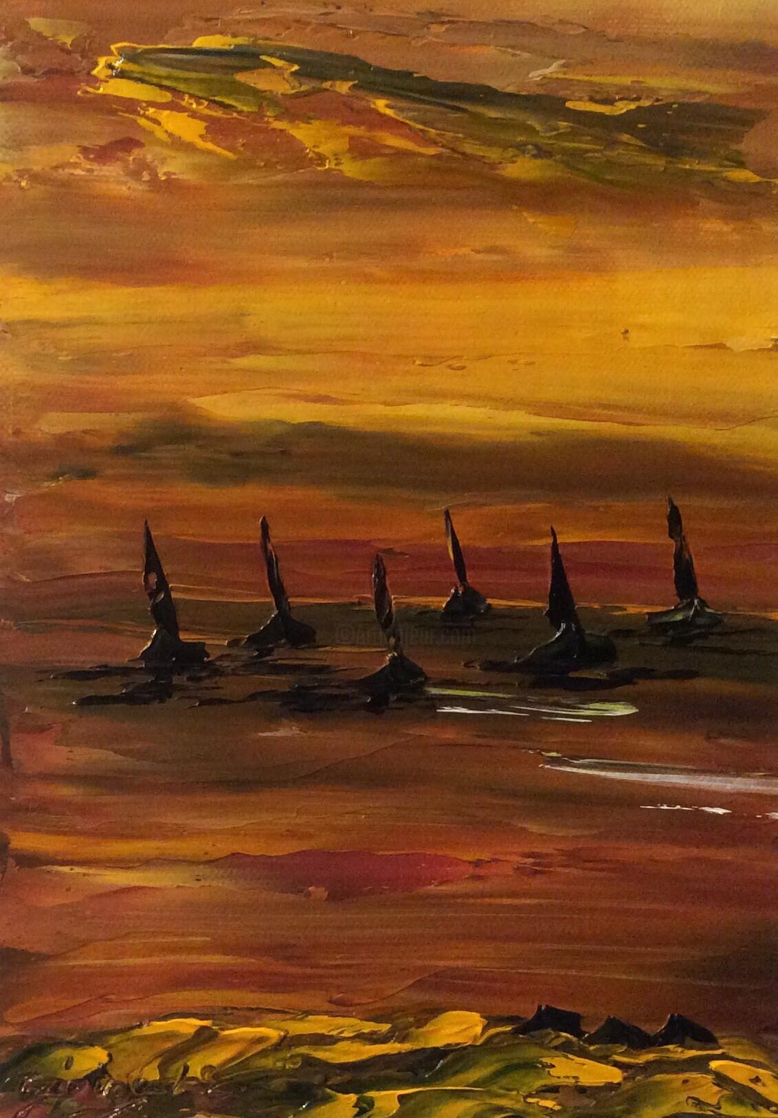 Etienne Guérinaud - Les 6 voiliers en mer au crépuscule