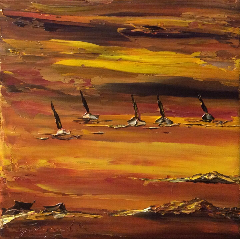 Etienne Guérinaud - Les 5 voiliers au crépuscule.