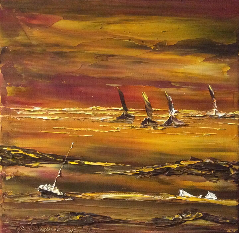 Etienne Guérinaud - Les 4 voiliers au crépuscule