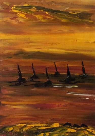 Les 6 voiliers en mer au crépuscule